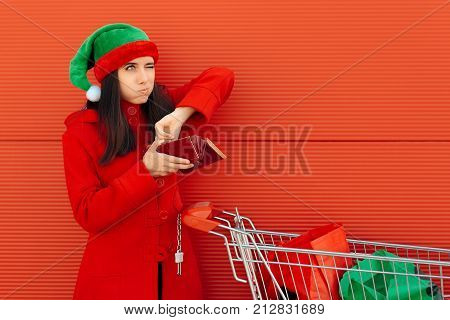 Broke Woman Spending Her Last Dollars on Christmas Shopping
