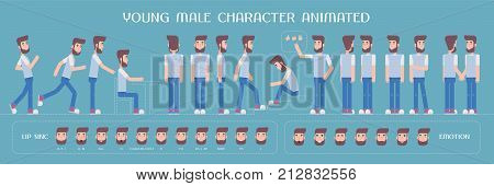 Set of vector elements for man guy character creation and animation. Different emotions poses face expressions body parts of young hipster male constructor