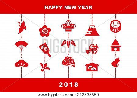 2018 New Year card illustration with pine leaf bamboo leaf plum flower red snapper crane spinning top hand fan tumbling doll Mt.Fuji and kite New Year elements