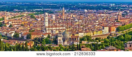 City Of Verona Old Center And Adige River Aerial Panoramic View