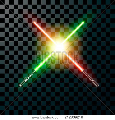 Two realistic light swords. cross swords. Vector illustration isolated on transparent background