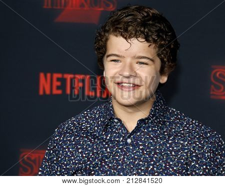 Gaten Matarazzo at the Netflix's season 2 premiere of 'Stranger Things' held at the Regency Village Theatre in Westwood, USA on October 26, 2017.