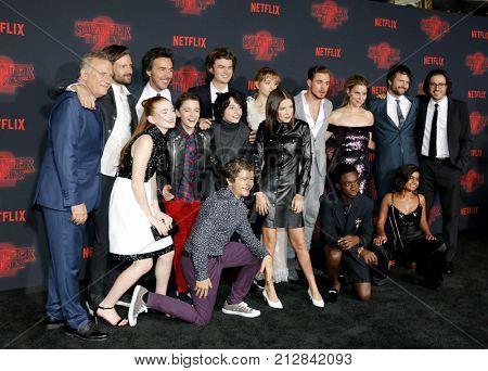 Paul Reiser, Noah Schnapp, Gaten Matarazzo, Millie Bobby Brown, Sadie Sink, Caleb McLaughlin and Finn Wolfhard at the Netflix's season 2 premiere of 'Stranger Things' held in USA on October 26, 2017.