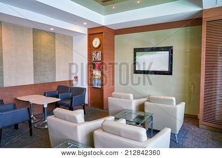 BUSAN, SOUTH KOREA - CIRCA MAY, 2017: inside KAL Lounge at Gimhae International Airport, Domestic Terminal.