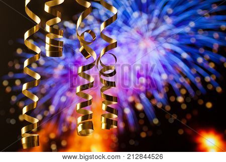 ribbons against fireworks - new year celebrations
