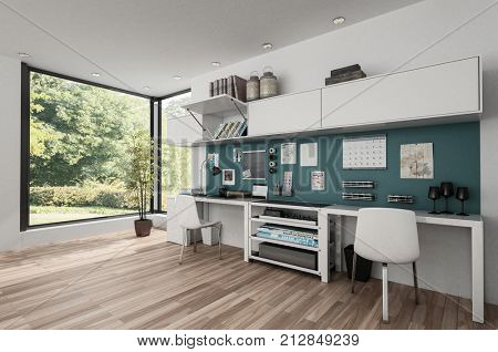 Workstations in furnished clean bright room with wooden floor. 3d rendering