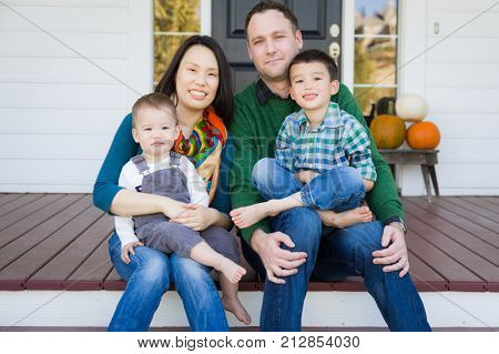 Mixed Race Chinese and Caucasian Young Family Portrait