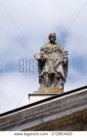 MANTUA, ITALY - JUNE 04: Saint Peter the Apostle, statue on facade of the Mantua Cathedral dedicated to Saint Peter, Mantua, Italy on June 04, 2017.
