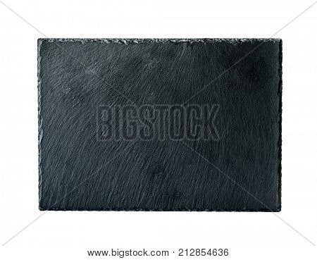 Woman hand holding rectangular rough black slate board isolated on a white background