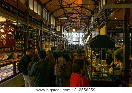MADRID, SPAIN - April 20, 2017: The Market of San Miguel is a covered market located in Madrid, Spain. Originally built in 1916, SPAIN