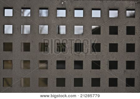 Metal fence in a square shape