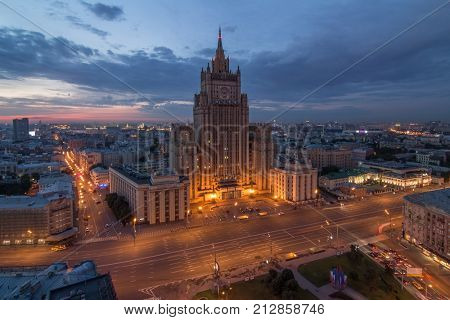 Ministry of Foreign Affairs building with illumination during sunset in Moscow, Russia