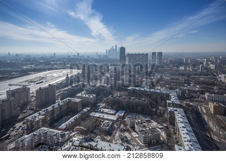 Idustrial area, Begovoy Area, hippodrome at winter day in Moscow, Russia