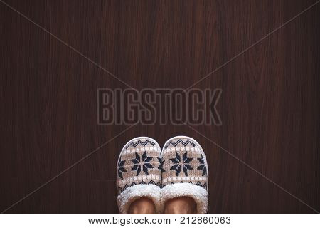 Slippers on floor at bedroom. Soft comfortable home slipper