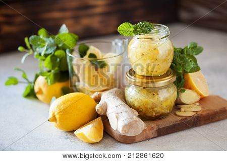 Homemade Lemon, Ginger And Mint Jam. Natural Medicine, Healthy Food Top View