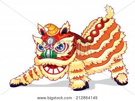 A full spirited Chinese lion is ready to jump high.
