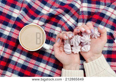 Cappuccino, Meringue In Female Hands, Checkered Plaid. Fashionable Concept