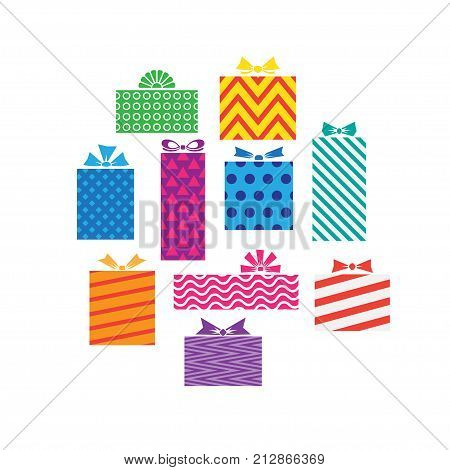 set of different gift boxes presents isolated on white. Christmas present colorful wrapped