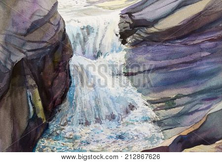Watercolor landscape original painting colorful of waterfall, rock cliff in forest nature summer season and water background. Hand painted Impressionist  illustration