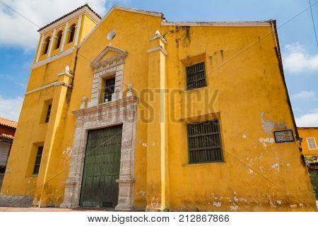 Church of the Holy Trinity in the Getsemani neighborhood of Cartagena Colombia. poster