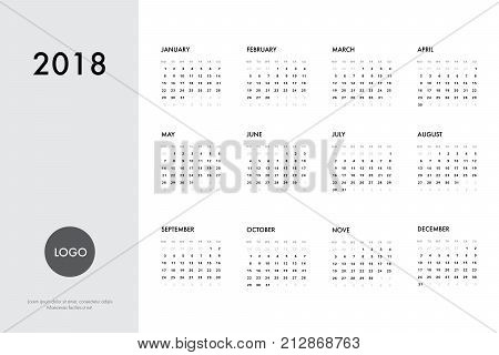 Calendar template for 2018 year. Planner vector diary in a minimalist style. Corporate and business calendar template. Day planner for records throughout the year.