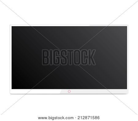 TV hanging on the wall vector with black screen. Led tv hanging on the wall background. 4k TV screen