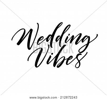 Wedding vibes phrase. Ink illustration. Modern brush calligraphy. Isolated on white background.