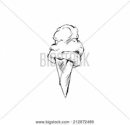 Hand drawn vector abstract graphic icon design element with ink brush painted illustration of creamy ice cream in waffle cone isolated on white background.