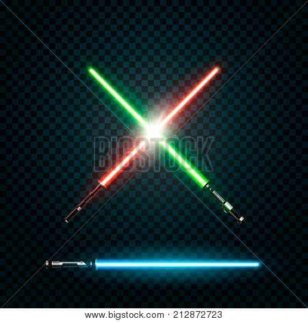 Set of realistic light swords. Crossed sabers. Vector illustration isolated on dark background
