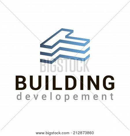 The image of the building in the form of letter T in blue color. Vector logo template for real estate or building company. Creative logotype. EPS10. Can be used for corporate identity. Icon concept. Architecture.
