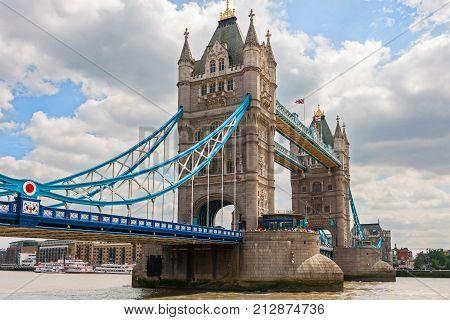 Tower Bridge, historic turreted bridge on River Thames, London, England