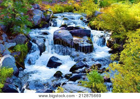 Waterfall surrounded by a riparian deciduous forest during autumn foliage taken in Mt Lassen National Park, CA