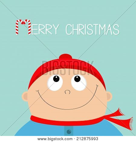 Merry christmas Candy cane. Baby boy wearing red hat and scarf. Kid face looking up. Cute cartoon character. Funny head with eyes nose smiling mouth. Hello winter. Flat design Blue background Vector