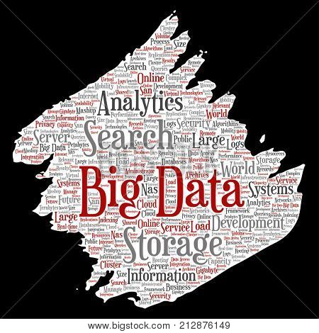 Conceptual big data large size storage systems paint brush paper word cloud isolated background. Collage of search analytics world information, nas development, future internet mobility concept