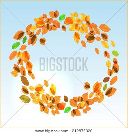 Yellow leaves circular vector fall background with day sky