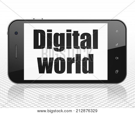 Information concept: Smartphone with black text Digital World on display, 3D rendering