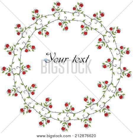 Vector circular frame with stylised poppy flowers