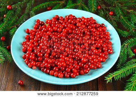 Cowberry, Foxberry, Cranberry, Lingonberry On A Blue Ceramic Dish On A Brown Wooden Table. Surrounde