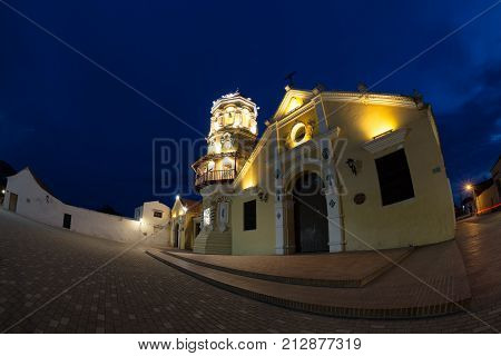 Fisheye view of the Santa Barbara Church during the blue hour in Mompox Colombia.
