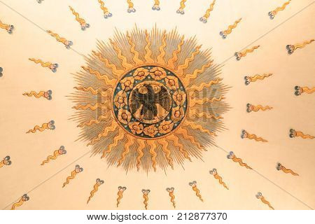Urbino Italy - August 9 2017: The Castle of the Dukes of Urbino. Ceiling of the ceiling