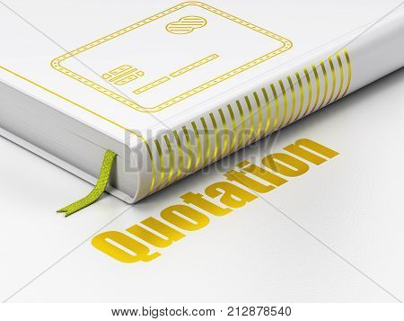 Money concept: closed book with Gold Credit Card icon and text Quotation on floor, white background, 3D rendering