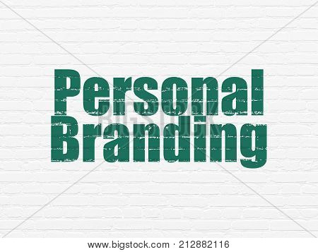 Marketing concept: Painted green text Personal Branding on White Brick wall background