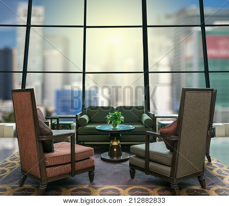 Lobby area of a hotel which can see abstract Blurred photo of cityscape with sun background