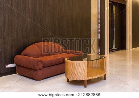 Lobby area of a hotel office. Interior design concept