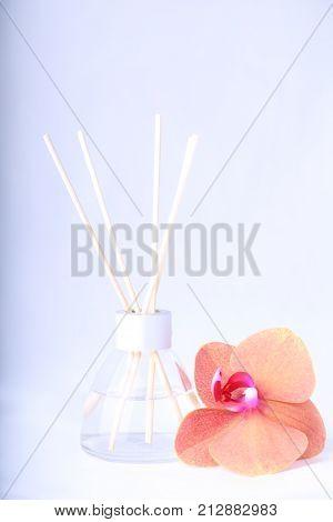 Air freshener sticks with flower. Aromatherapy .