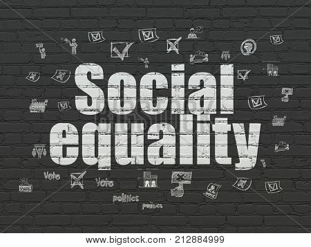 Politics concept: Painted white text Social Equality on Black Brick wall background with  Hand Drawn Politics Icons