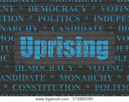 Political concept: Painted blue text Uprising on Black Brick wall background with  Tag Cloud