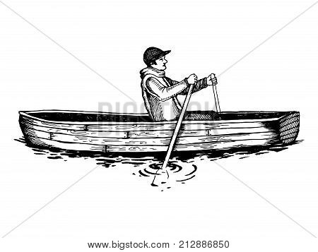 Man on rowing boat engraving vector illustration. Wooden water transport. Scratch board style imitation. Hand drawn image.