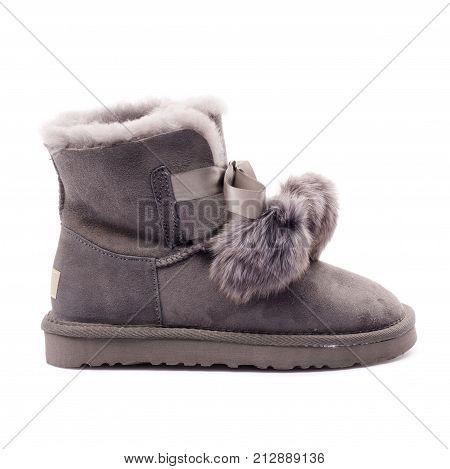Beautiful High Heel Shoe On Isolated White Studio Background. Fashion Classic High Heels. Pumps Peep