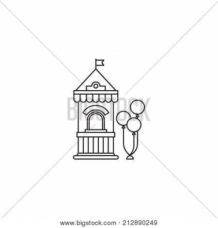 Ticket booth with balloons icon vector linear design isolated on white background. Park logo template, element for amusement park, line icon object.